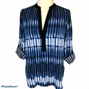 Vince Blue Silk Tie-Dye Split Neck Tunic 6